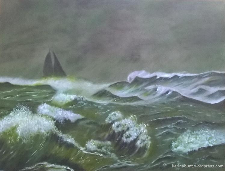 stürmisches Meer mit Segelboot am Horizont