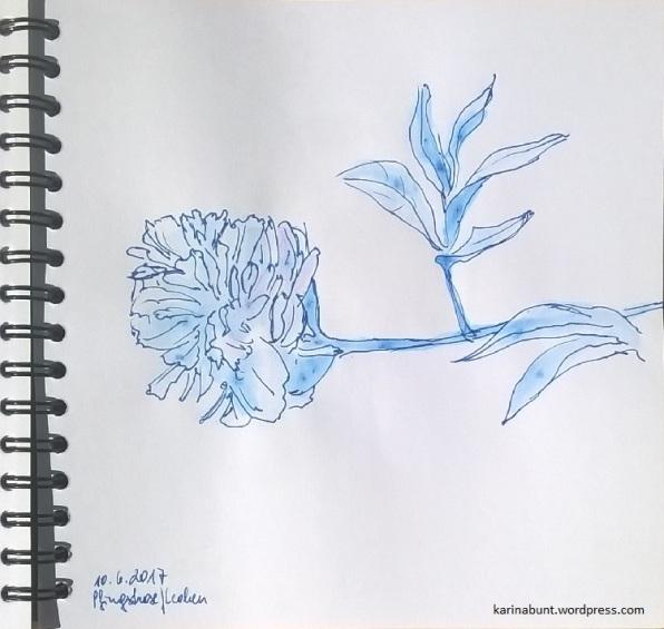 Tintenroller auf Papier, 15x15cm