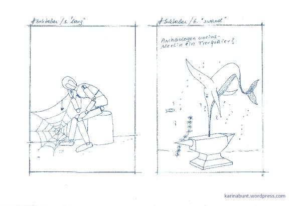 Tintenroller auf Papier, je 10x15cm (2017)