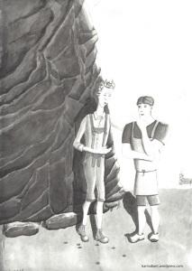 Teufel und Schmied im Gespräch; links im Mittelgrund eine dunkle Felswand, rechts in der Ferne Stift Admont