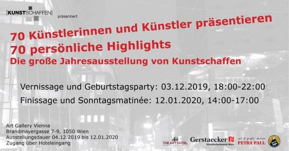 """Ausstellungseinladung """"Highlights"""" im Arthotel Wien"""