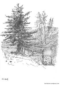 Skizze eines alleinstehenden Baums mit ein bißchen Hintergrund