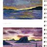 zwei Ansichten von Sonnenuntergängen