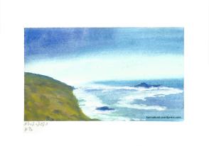 Landschaft mit Meerblick und Küste