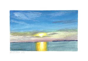 Landschaft mit Sonnenuntergang über dem Meer