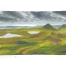 Landschaft mit Hügeln u. Bergen