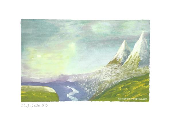 Landschaft mit Bergen und Dunst