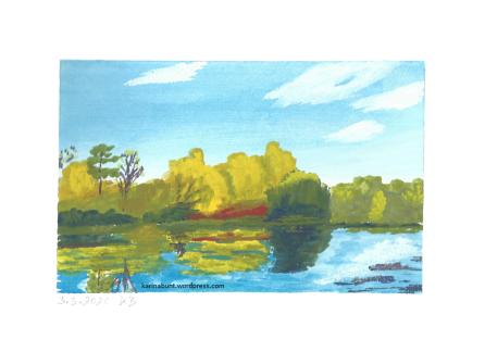 Teich mit Herbstbäumen