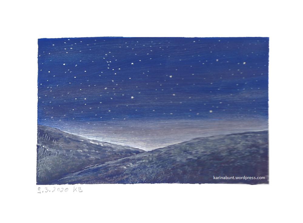 Nachtlandschaft mit Sternenhimmel