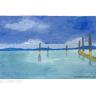 See-Landschaft mit düsteren Wolken u. Stegresten