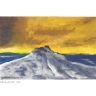 Bergspitze mit Sonnenuntergangshimmel