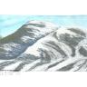 verschneiter Bergrücken