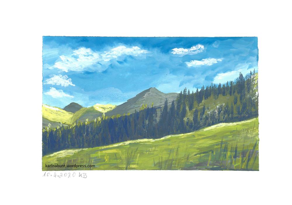 Berghang mit Wiese und Wald