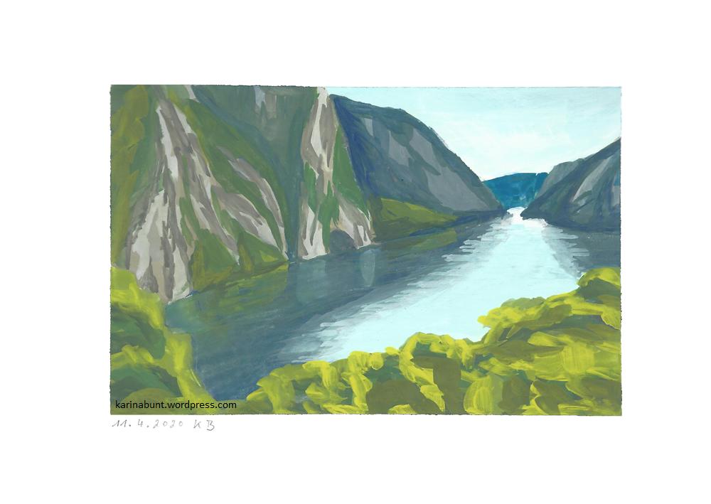 Fluß mit Bäumen und Felsabhängen