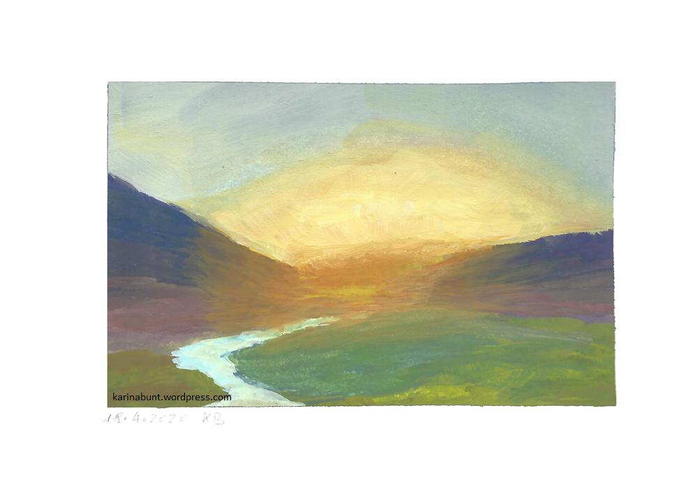 Sonnenaufgang über einem Flußtal