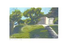 Wiese mit Bäumen, Haus im Hintergrund
