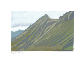dunstiger Berghang im Hochgebirge