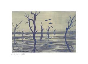 Sumpflandschaft mit toten Bäumen und drei UFOs im Hintergrund