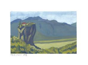 Felsen in der Landschaft mit Gebäude drauf