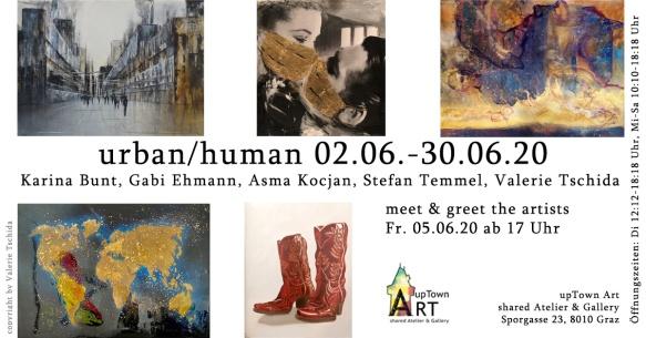 Ausstellungseinladung mit 5 Bildern und Daten der Ausstellung