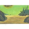 Landschaft auf einem fernen Planeten, kleine Stadt im Hintergrund und großer Mond am oberen Bildrand zu sehen