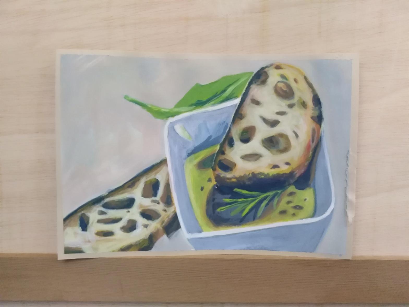 Bild von zwei Weißbrotscheiben mit Olivenöl, Balsamicoessig, Rosmarin, Salatblatt in einer Schüssel