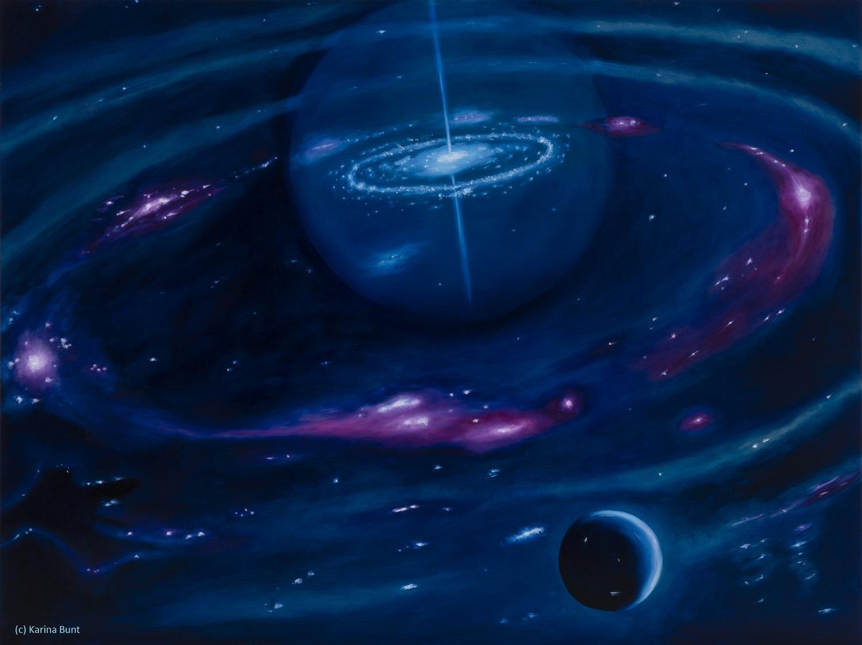 unendliche Weiten II, Weltall, Planetensystem, dunkles All, rosa leuchtende Materie-Wolken, weißer Zwerg im Schatten