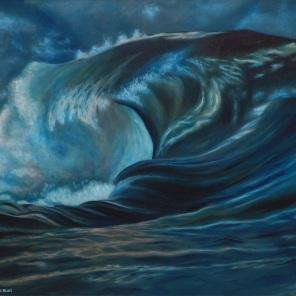 tosende Meeresbrandung, große Welle, stürmische Woge, dunkles Wasser und helle Gischt