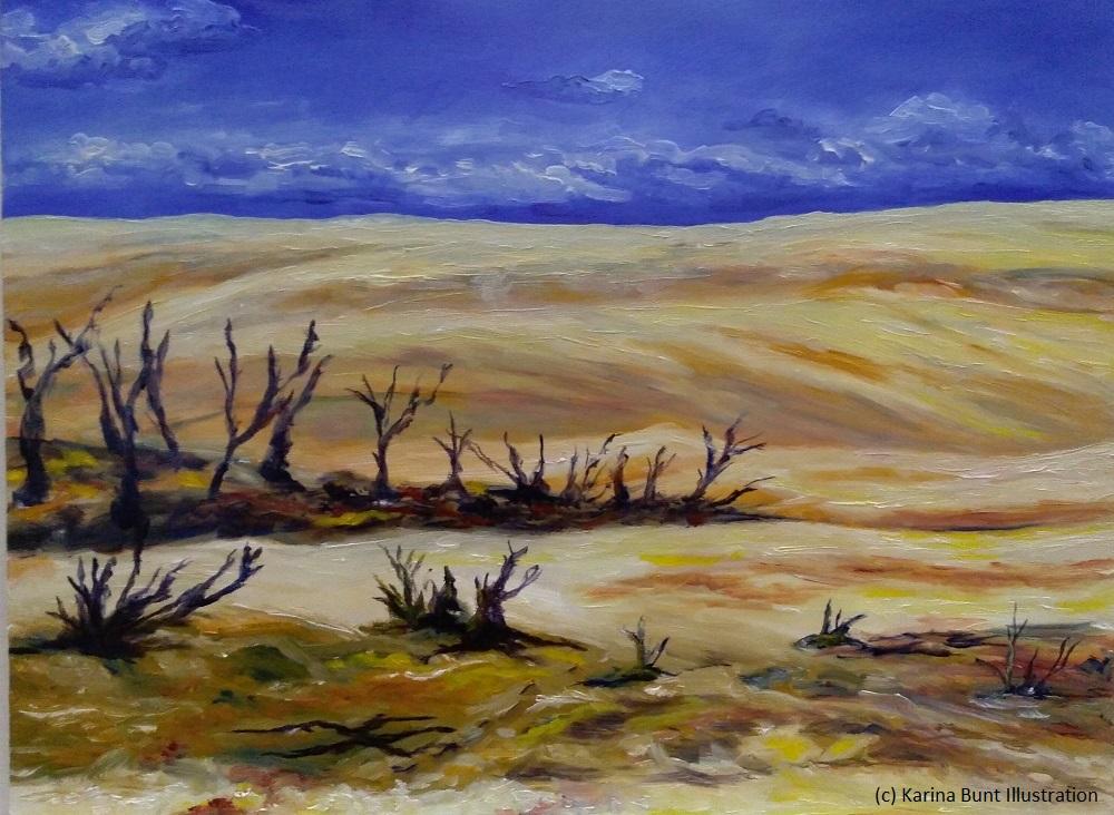 menschenleere, einsame Wüste mit kahlen Dünen im Hintergrund und einem Gesstrüpp im Vordergrund